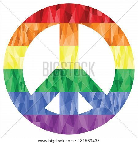 Peace symbol in gay and lesbian rainbow low poly art style