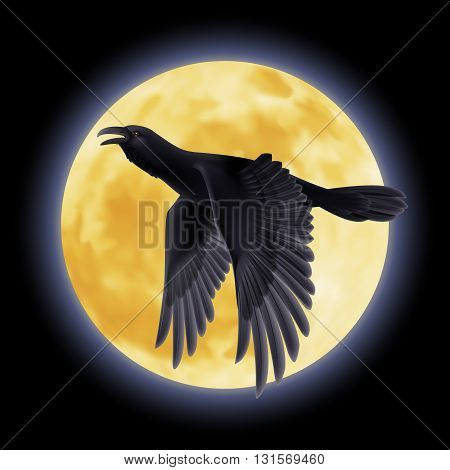 Black crow soars on the background of a moon night