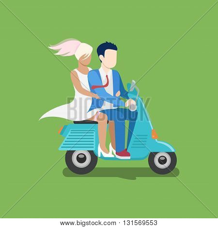 People riding moped vector creative flat design illustration