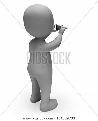 Character Photo Represents Take Picture And Cellphone 3D Rendering