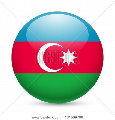 Flag of Azerbaijan as round glossy icon. Button with Azerbaijanian flag