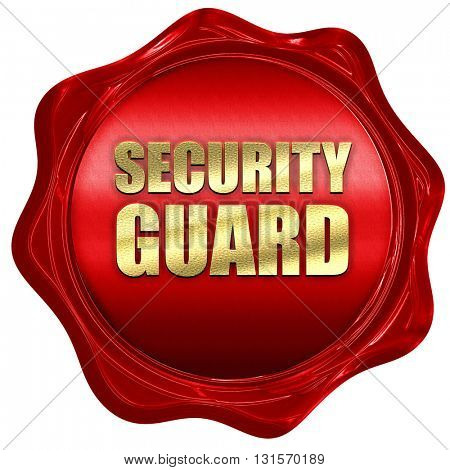 security guard, 3D rendering, a red wax seal