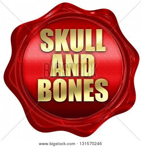 skull and bones, 3D rendering, a red wax seal
