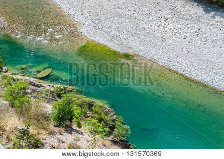 Top view of the river Trebbia during the summer