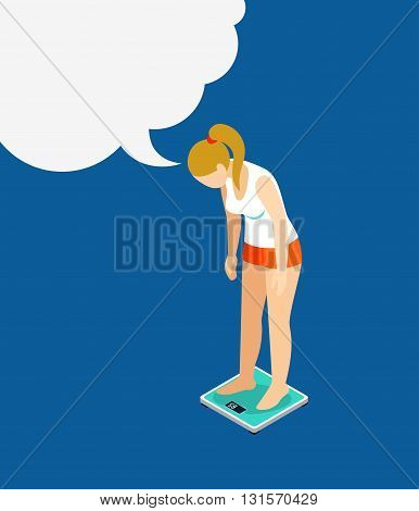 Weight measure woman sports healthy flat 3d isometric vector