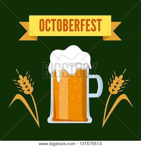 Octoberfest Oktoberfest beer festival brew glass flat vector