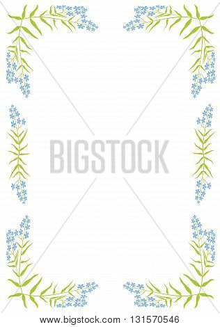 Colorful  frame with plant - vector illustration.