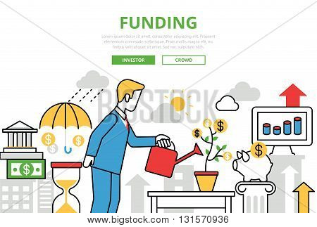 Investment Funding vector flat line art infographics banner