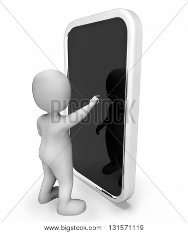 Online Character Indicates World Wide Web And Telephone 3D Rendering