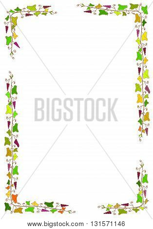Colorful vintage frame with grapes and leaves - vector illustration.