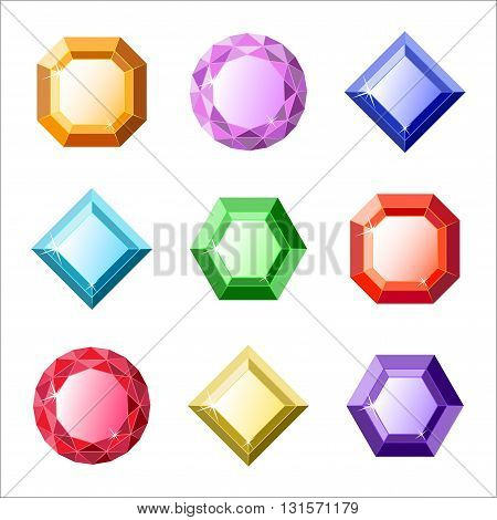 Set of vector gems and diamonds icons in different colors with different shapes for a game