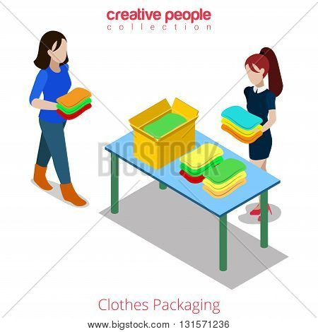 Clothes fashion boutique shop shopping flat isometric vector 3d