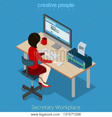 Flat 3d isometric vector woman workplace: secretary boss