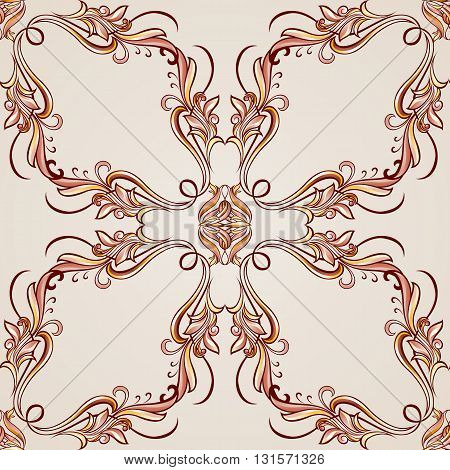 Seamless pattern with ornate floral elements in brown and rose pink shades