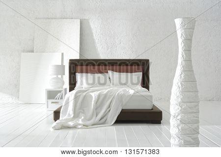 NEW FURNITURE LINE : STRAIGHT LINE BED DESIGN , MINIMAL DECORATION IN BIG WHITE ROOM .