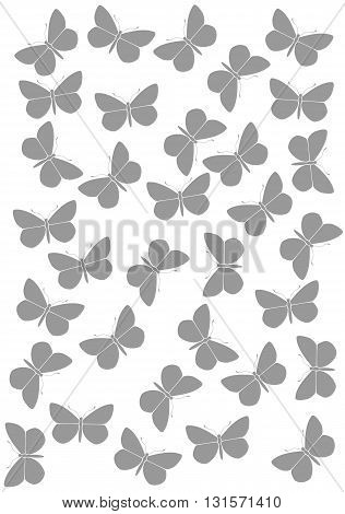 Greyl background with butterflies  - vector illustration