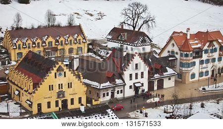 HOHENSCHWANGAU, GERMANY - JANUARY 1, 2012: Hohenschwangau town in winter