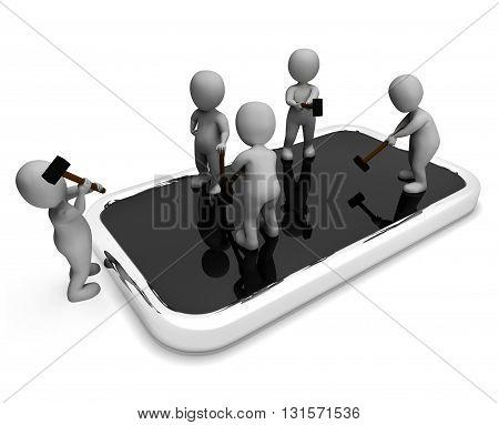 Characters Repair Indicates Diagnostics Men And Cellphone 3D Rendering