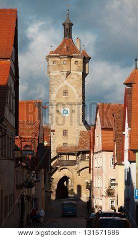 ROTHENBURG OB DER TAUBER, GERMANY - JANUARY 04, 2012: View of the Klingengasse street