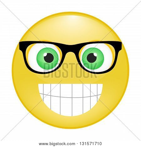 Yellow cheerful emoticon with big eyes smile