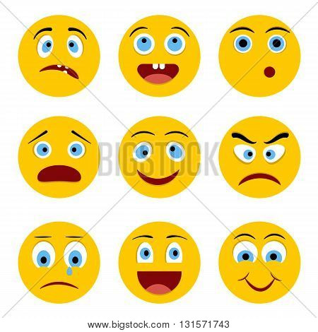Set of Emoticons. Emoji. Yellow circle smiley