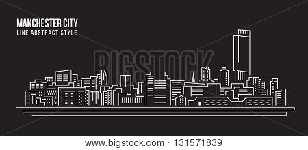 Cityscape Building Line art Vector Illustration design - Manchester city