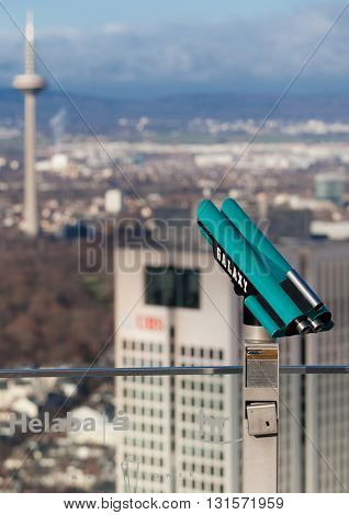 FRANKFURT AM MAIN, GERMANY - JANUARY 06, 2012: Panoramic binoculars