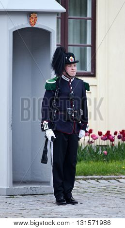 NORWAY, OSLO - MAY 13, 2012: Guard on a guard duty