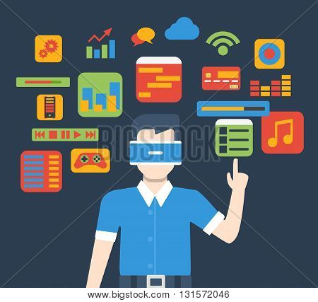 VR virtual reality glass interface usage flat isometric vector