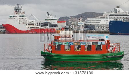 BERGEN, NORWAY - MAY 15, 2012: Tryg - children's entertainment boat in the port of Bergen