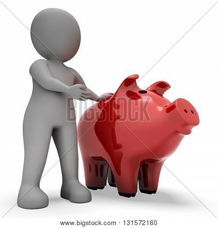 Save Savings Indicates Piggy Bank And Wealth 3D Rendering