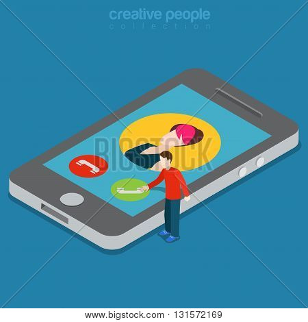 Phone call answer interface app technology flat isometric vector