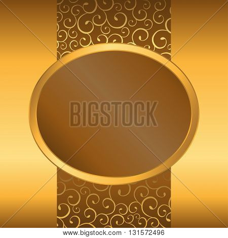 Abstract background yellow brown gold ellipse frame illustration vector