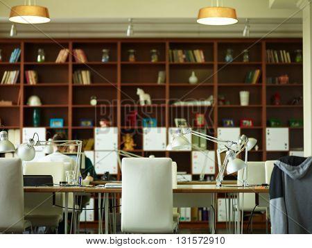 Empty workplace of big team