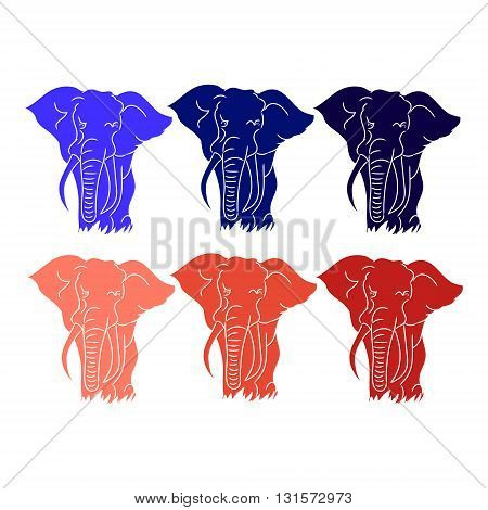 The image of an elephant on a white background. Colour elephant silhouette vector. A set of drawings
