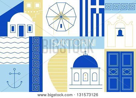 Vector illustration with main landmarks and icons. For magazines, web, tourism. Travel to Greece template.
