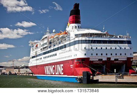 FINLAND, HELSINKI - JUNE 15, 2011: Gabriella - a Viking Line ferry at pier in Helsinki