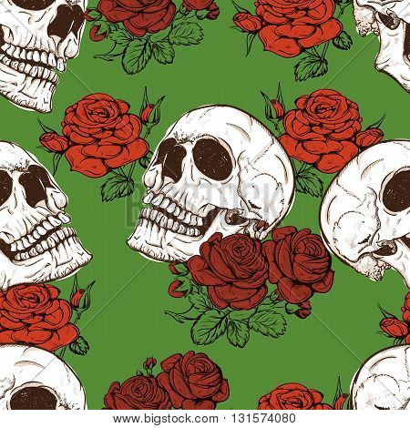 vector seamless with roses and skulls skull