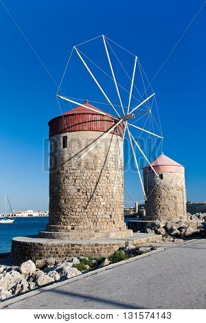 Ancient windmills in the harbour of Rhodes