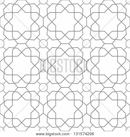 Seamless vector ornament in arabian style. Pattern for wallpapers and backgrounds. Light silver pattern