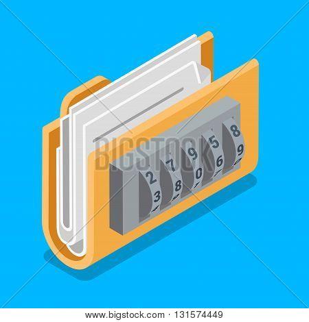 Secure data file folder ring code lock flat isometric vector 3d