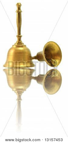 Hand Bell Isolated On White With Its Reflection