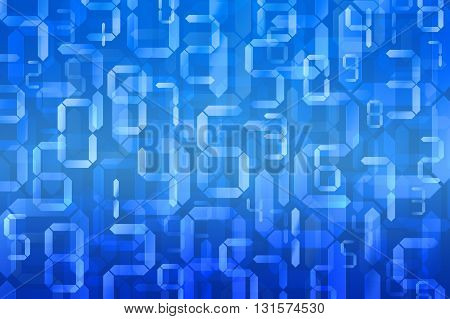 Digital numbers in blue background Digital technology background