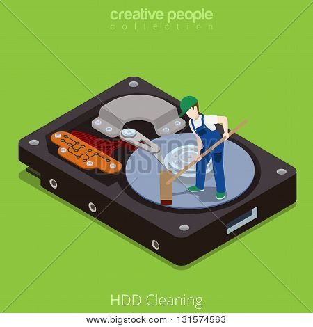 HDD Cleaning Wipe hardware technology flat isometric vector 3d