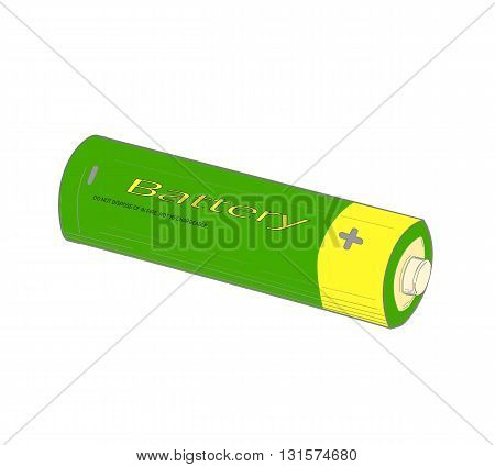 Green and yellow battery - vector illustration.