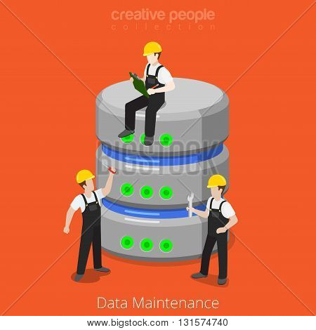 HDD Database Storage Maintenance SQL flat isometric vector 3d
