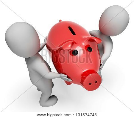 Money Save Indicates Piggy Bank And Finances 3D Rendering
