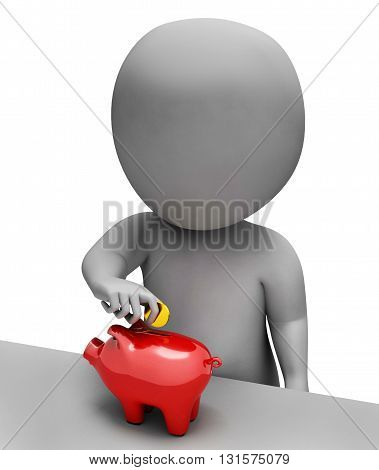 Character Money Shows Piggy Bank And Richness 3D Rendering