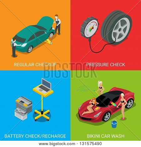 Car service regular checkup pressure check battery recharge bikini car wash. Flat 3d isometry isometric style web site app icon set concept vector illustration. Creative people collection.
