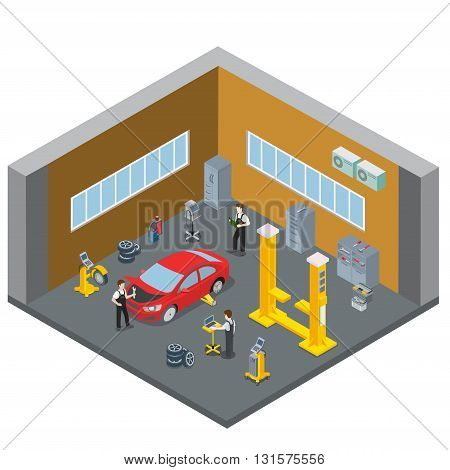 Car repair vehicle service interior indoor room. Serviceman at work workplace. Flat 3d isometry isometric style web site app icon set concept vector illustration. Creative people collection.